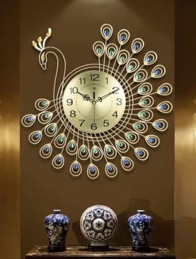 3D Gold Diamond Peacock Wall Clock
