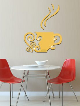 3D Coffee Cup Acrylic Mirror Wall Stickers