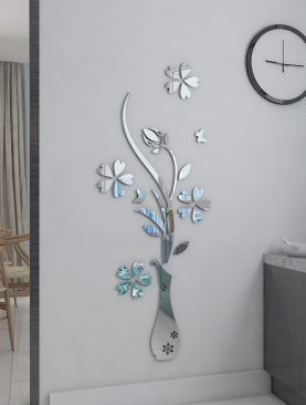 3D Acrylic Mirror Flower Vase Wall Sticker
